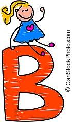 little girl sitting ontop of a letter B