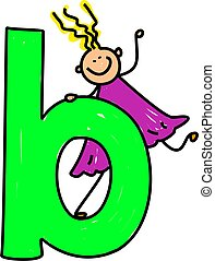 letter B girl - happy little girl climbing on giant letter B...
