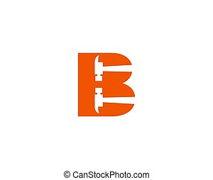 Letter B Hammer Logo Design For Construction, Manufacture, And Repairing
