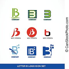 Letter B icon logo set