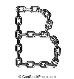 Illustration of a letter B from a chain on a white background