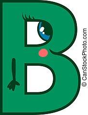 Letter B, illustration, vector on white background.