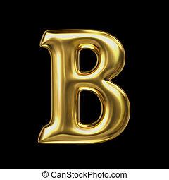 LETTER B in golden metal
