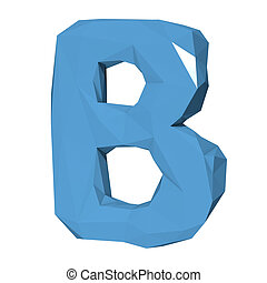 Letter B in Low Poly Style on white background.3D Rendering. Illustration