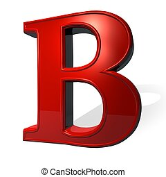 Letter B in red over white background, with shadow, 3d render