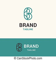 Letter B Line Simple logo template icon symbol with turquoise color