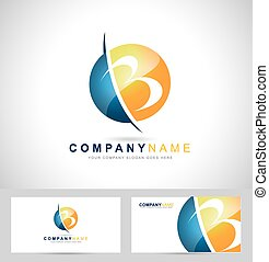 Letter B Logo Design. B letter icon and business card...