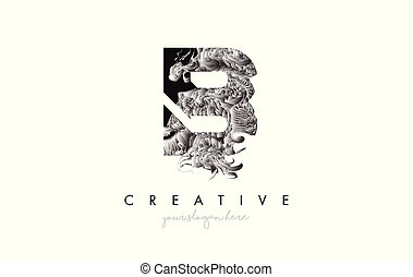 Letter B Logo Design Icon with Artistic Grunge Texture In Black and White