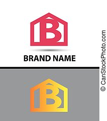 Letter b logo with home icon