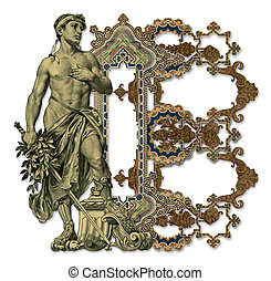 Luxuriously illustrated old capital letter B with man.