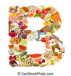 Letter B made of food