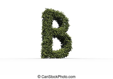 Letter b made of leaves on white background
