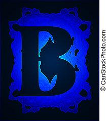 Neon capital letter B.