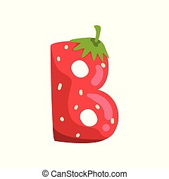 Letter B of English alphabet made from ripe fresh srawberry, bright red berry font vector Illustration on a white background