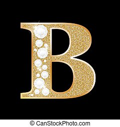 Letter B of gold and diamond