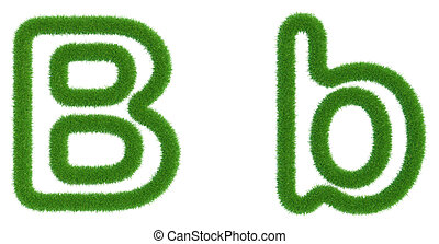 Letter B of green fresh grass isolated on a white background.