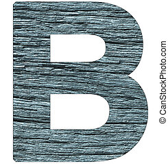 Letter B of the alphabet, with wood texture in blue color