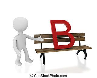 letter b on desk