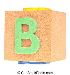 Letter B on Foam Block