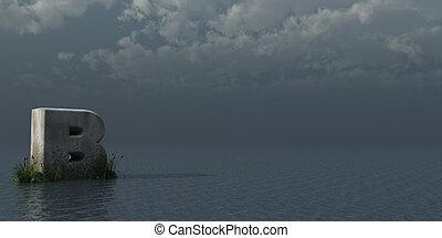 letter B rock in water landscape - 3d illustration