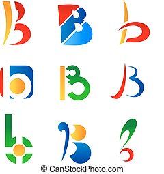Letter B symbols - Set of alphabet symbols and icons of...