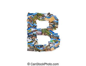 Letter B uppercase font shape alphabet collage made of my best landscape photographs. Version 3.