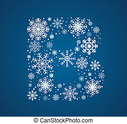 Letter B, vector font frosty snowflakes