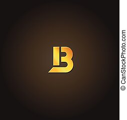 Letter B. Vector gold font. Template for company logo....