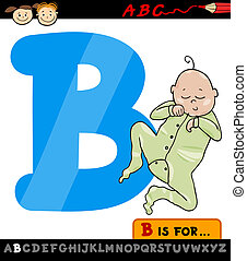letter b with baby cartoon illustration