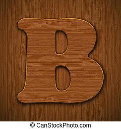 "Letter ""B"". Wooden alphabet. Vector illustration."