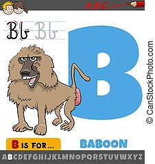 letter B worksheet with cartoon baboon animal