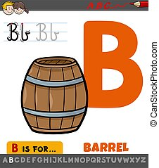 letter B worksheet with cartoon barrel object