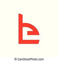 letter be unique simple geometric logo vector