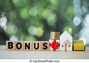 Letter block in word bonus with money, home and car.
