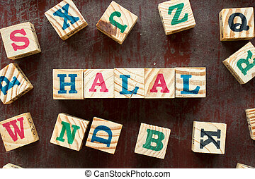 Letter block in word halal with another on old red wood background