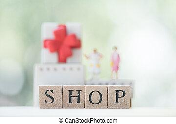 Letter block word shop