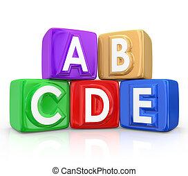 Letter Blocks Cubes A B C D E Organized Order Steps - Letter...