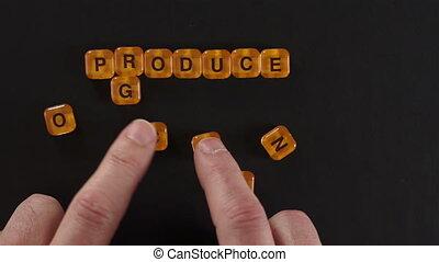 Letter Blocks Spell Organic Produce