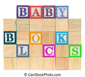 Letter blocks spelling baby blocks