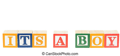 Letter blocks spelling its a boy