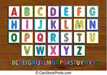 Letter Blocks. Vector illustration. Same view 26 letters of...