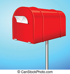 Letter Box - illustration of letter in letter box post