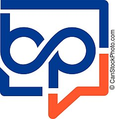 creative letter b and p with square bubble logo, Letter bp logo vector concept