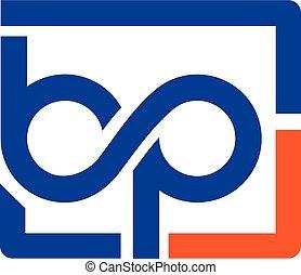 bp letter with square bubble logo , Letter bp logo vector