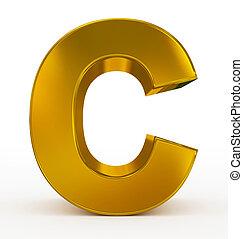 letter C 3d golden isolated on white