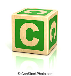 letter c alphabet cubes font - preschool, kid, icon,...