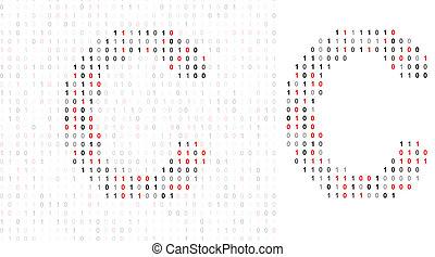 Letter C, alphabet from binary code