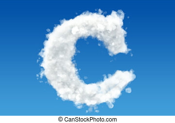 Letter C, alphabet from clouds in the sky. 3D rendering