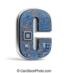 Letter C, Alphabet in circuit board style. Digital hi-tech letter isolated on white.