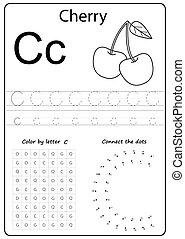letter C. Alphabet letter. Worksheet. Task for kids. learning letters